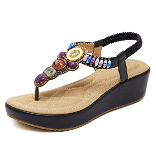 Zonlin sandali con zeppa donna bohemian summer beach infradito