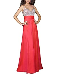 Mujer Vestido de Noche Elegante V Cuello Sin Espalda Maxi Vestido de Partido Largo