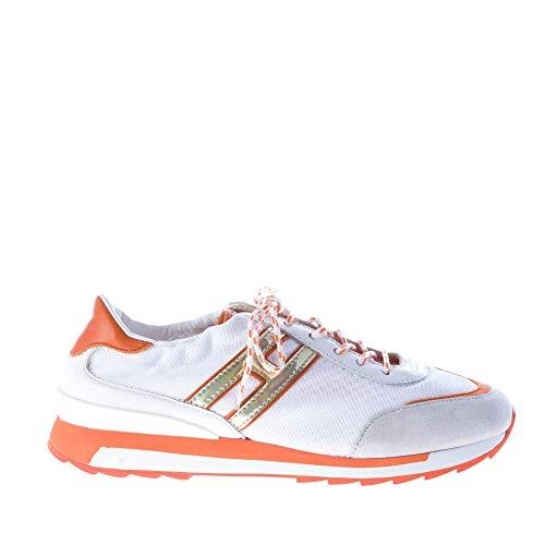 Hogan Rebel Sneaker in Tessuto Bianco più Pelle e camoscio Arancione e Ghiaccio. Lacci Bicolore Color Bianco Size 36