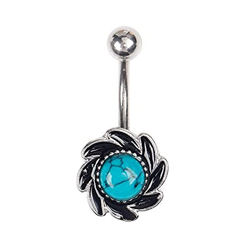 BODYA Acier inoxydable brillant 7mm Turquoise tournesol bijoux Bijoux en corps Piercing Barbell Navel Belly Button Ring Barbell