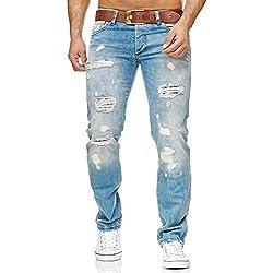 Red Bridge Denim Jeans Ajustados de Hombres Vaqueros Casuales Destruido Efectos Moda Pantalón