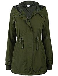 iLoveSIA Damen Parka Übergangsjacke lang winddicht leicht Herbst Trenchcoat mit Kapuze langärmlig