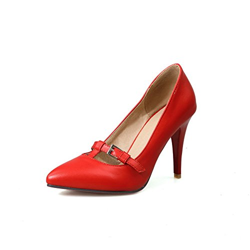 41nB18GKW9L UK BEST BUY #1BalaMasa Ladies Spikes Stilettos Pointed Toe Low Cut Uppers Red Urethane Pumps Shoes   6 UK price Reviews uk