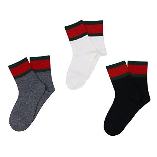 Caudblor 3 Farben Cotton Classic Socken Mit Dicke Streifen, 3 Paar (Dicke Streifen Socken)