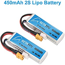 BETAFPV 2pcs 450mAh 2S 80C Lipo Battery with XT30 Plug for Doinker Moskito Mico FPV Racing Drone Quadcopter