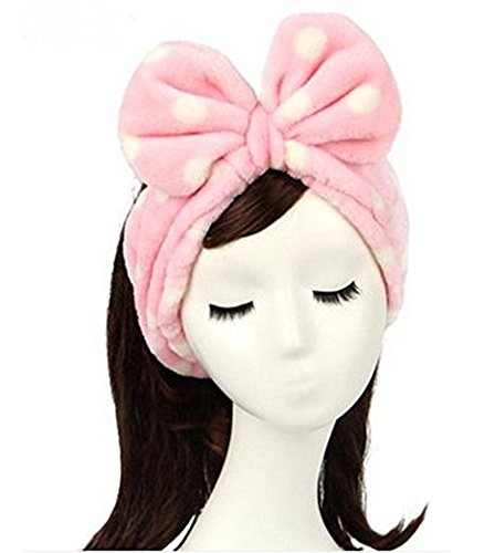 chöne rosa Herz Bowknot Bogen Make-up kosmetische Dusche elastische Haar Band Hairlace Stirnband. ()