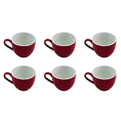 Flirt by R&B 516128 \'Doppio\' Espresso-Obere/Espressotasse 80 ml, Ø 6 x 5 cm, rot (6er Pack)
