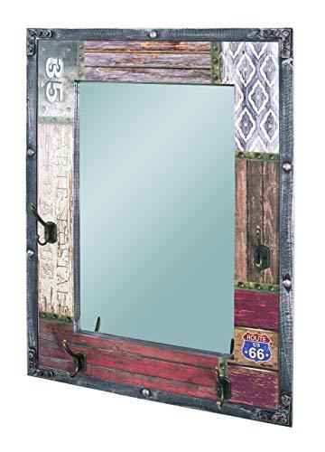 HAKU Möbel Wandgarderobe - in Vintageoptik mit 4 Haken und Spiegel, Höhe 75 cm