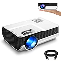 "FunLites 4600lux Portable Video Projector,Supported 1080P Outdoor Movie Projector with 200"" Display 50,000 Hrs, LED HD Projector Compatible with Fire TV Stick,PS4,HDMI,VGA,AV and USB"