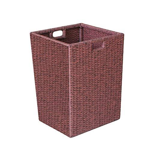 WXF Panier à linge Panier de rangement pour le linge de maison en rotin de plastique, livres (Size : 38×38×53cm)