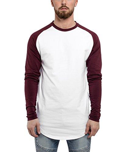 Blackskies Baseball Longsleeve T-Shirt | Langes Oversize Fashion Basic Langarm Raglan Herren Longshirt Long Tee Melliert - Weiß-Burgundy Large L -