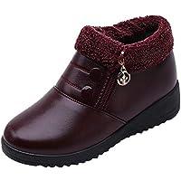WWricotta Damen Stiefeletten Rutschfeste Zip Leder Flache Schuhe Absatzschuhe Winterschuhe Wedges Schuhe mit Plateau... preisvergleich bei billige-tabletten.eu