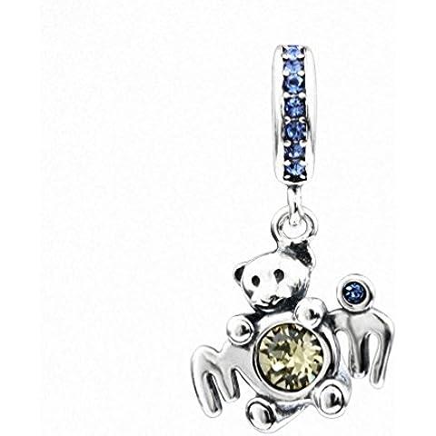 TAOTAOHAS antico sterling 925 argento charms ciondoli pendente beads perline [orso mamma, Light Sapphire] bracciali europeo misura