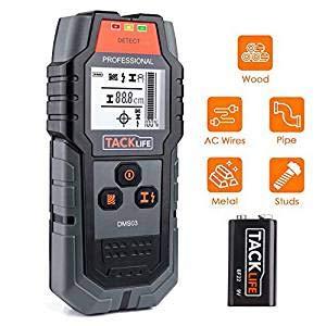 Ortungsgerät Tacklife DMS03 Metalldetektor Wand Scanner Detektor Stud Finder Leitungssucher für Stromleitung Holz Metall mit Großer LCD Hintergrundbeleuchtung inkl. Schutztasche