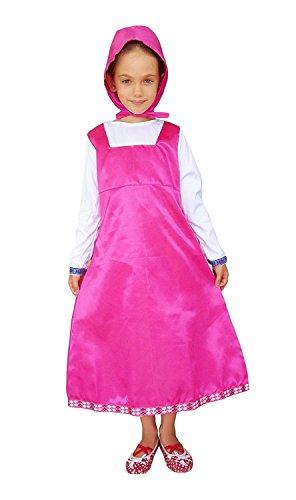 e - Kostüm - Verkleidung - Karneval - Halloween - Mascha und der Bär - Pink - Kind (Kinder Halloween Kostüme Billig)