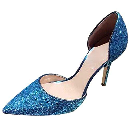 Oasap Women's Sequins Slip-on High Heels Pumps pink