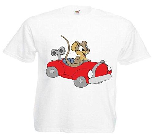 Motiv Fun T-Shirt Maus im Auto Cartoon Spass Kult Film Serie Motiv Nr. 11451 Weiß