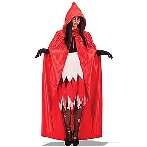 Carnival Toys - Capa de raso con capucha en bolsa, 140 cm, color rojo (29009)