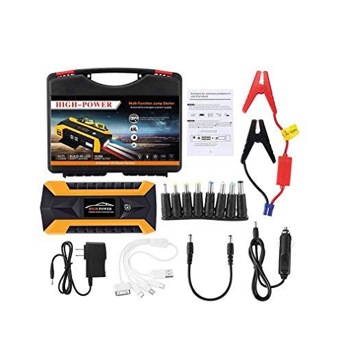 DMQNA Auto-Starthilfe, 12-V-Hochleistungs-Starthilfeset Für 5,0-L-Gasmotoren, Lithiumbatterie-Powerbank Mit 600-A-Autobatterie-Booster,Orange,20000mAh -