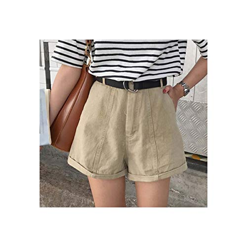 st Women Shorts Summer New Ropa De Mujer Casual Wide Leg Short Pants Streetwear Pantalones Femme Khaki M ()