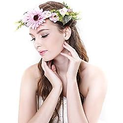 Diadema corona de margaritas de Ever Fairy® con cinta ajustable, para bodas y festivales Azul rosa Taille unique