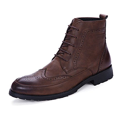 HILOTU Stivaletti da Uomo alla Moda Lace up Anti-Slittamento in Morbida  Pelle PU High 254f76ab2c1
