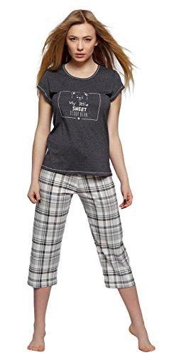 SENSIS eleganter Baumwoll-Pyjama Schlafanzug Hausanzug aus stillvollem Shirt und Capri-Hose, anthrazit/kariert, Gr. XL (42) (Capri-pyjama-hose)