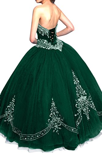 Gorgeous Bride Elegant Lang Traegerlos A-Linie Satin Tuell Applikation Abendkleider Ballkleider Festkleider Dunkelgruen