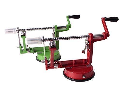 3in1 Apfelschäler Apfelmaschine Apfelentkerner Apfelschneider Apfelschälmaschine (Grün)