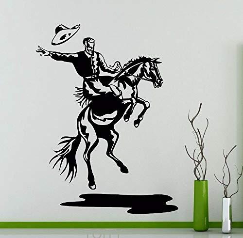 zzlfn3lv Rodeo Wandtattoo Cowboy Retro Poster Pferd Vinyl Aufkleber Home Innendekoration Wild Western Kunstwand 77 * 58 cm