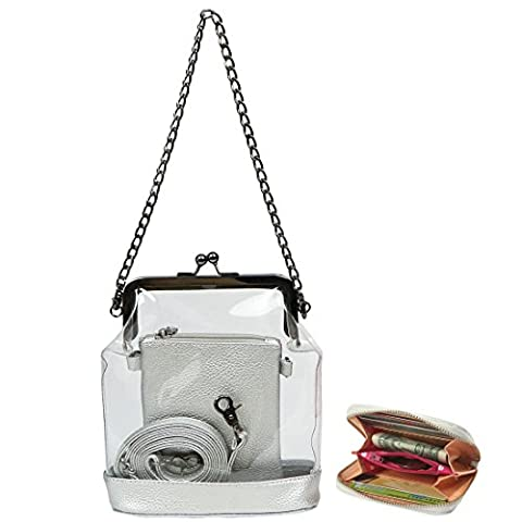kilofly Women's 2-in-1 Transparent Clear Bag Shoulder Crossbody Purse + Wallet