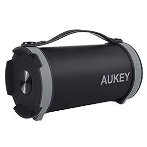 AUKEY Enceinte Portable Bluetooth sans Fil Sport FM Radio Batterie Intégrée avec Sangles Compatible avec iPhones, Smartphones Android, PC (Noir et Gris)