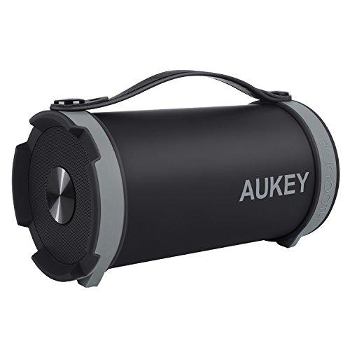 AUKEY Bluetooth Lautsprecher Outdoor tragbarer Lautsprecher 11W mit FM-Radio und AUX-in Funktion für iPhone, Samsung, HTC, iPad, MP3, Laptop/PC (Schwarz)