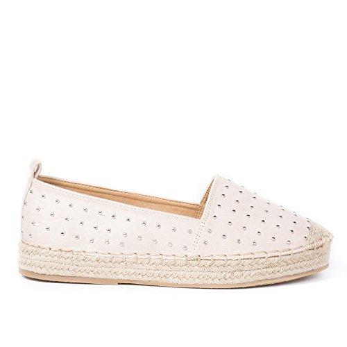 Ideal Shoes Swan - Espadrilles Effet Daim Incrustée de Clous Bess Beige