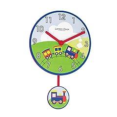 Idea Regalo - London Clock Orologio da Parete Treno per Bambini, 38x 25x 3.5cm