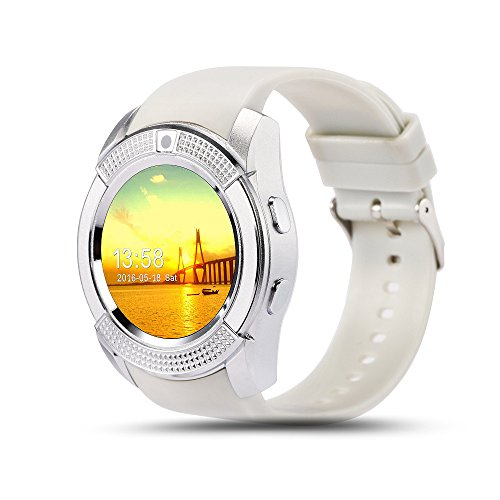 ???? Smart watch Bluetooth Touchscreen Wasserdichte Junge Mädchen Runde intelligentes Telefon mit SIM-Karten-Slot/Kamera-Sport-Pedometer Kompatibel mit Android Phone