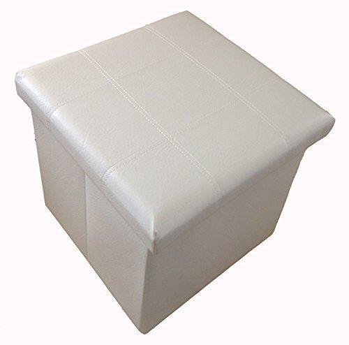 GMMH Hocker Sitzhocker Box Aufbewahrungsbox Sitzwürfel Truhe Fußbank Sitzbank Faltbar (weiß)