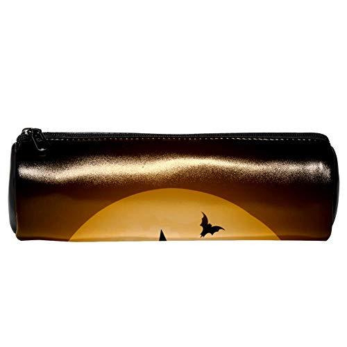 enkatze und Vollmond-Stiftmäppchen aus Leder für Münzen, Kosmetiktasche, Make-up-Tasche für Schule, Arbeit, Büro ()