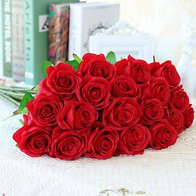 Xqi wangpu Künstliche Blumen 10 Zweig-europäische Art-Rosen-Tischplatte-Blume, rot - Kopf-tisch-mittelstücke