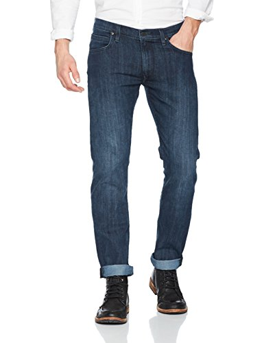 Lee Herren Straight Jeans Daren Zip, Blau (Dark Side Blue Aaii), W34/L32 (Jean Zip-pocket)