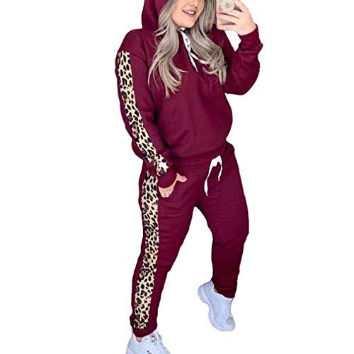 junkai Pullover Leopardo Donna O-Collo Athleisure Felpa e Pantaloni Tuta Set Autunno Donna Casual Due Pezzi