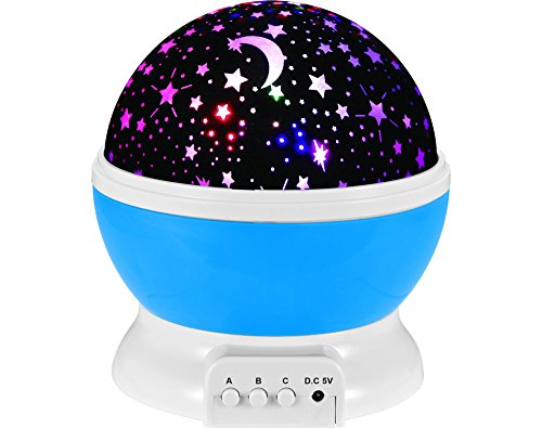 Multicolor Mond Sterne Licht Projektor für Kinder Beleuchtung, Kinderzimmer Nachttisch Nacht Lampe und Schlaf Beruhiger Lampe Abnehmbare Weiße Kuppel