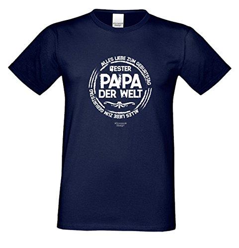 Geburtstagsgeschenk Papa Vater :-: Motiv Kurzarm T-Shirt mit Geburtstagsaufdruck :-: Bester Papa der Welt :-: auch in Übergrößen 3XL 4XL 5XL :-: Farbe: navy-blau Navy-Blau