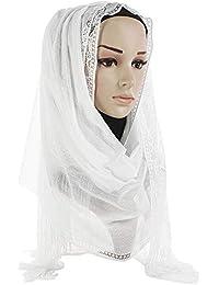 Femmes Foulard Écharpe Longues Châle Glands Fleur Dentelle Musulman Beauté  Doux Élégant Chic Vintage, QinMM 436f2fbf54f