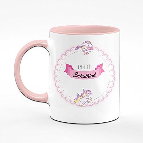 Tasse Endlich Schulkind - Geschenke zur Einschulung für Mädchen - Geschenke Zum Schulanfang für Schultüte - Farbe wählbar (Rosa) - 2