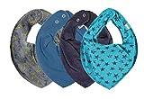 Pippi * SUPER 3er Set Jungen Mädchen Baby Kinder HALSTUCH grau blau schwarz  + GRATIS 1 Bestseller Dreieckstuch Sterne ~ Pack mit 4 Stück (Anker auf Grau, Vallarta Blue, Navy, Aqua Stars)