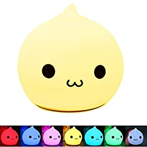 Bestfire Portable Silicone LED Multicolor Night Lamp,Battery Powered Children Night Light with Warm White & 7-Color Breathing Dual Light Modes, Sensitive Tap Control for Baby Adults Bedroom