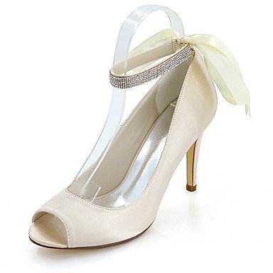 Wuyulunbi @ Zapatos Mujer Satén Primavera Verano Bomba Base Zapatos Boda Tacón De Aguja Peep Toe Rhinestone Para Boda Y Noche Champagne Champagne