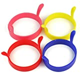 4 Pack Nonstick Silicone Egg Ring Pancake Mold, Round Egg Rings Mold