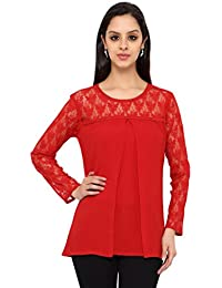 Eternal Women's Red Solid Moss Crepe Western Wear Top